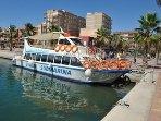 Glass bottom boat. Puerto de Mazarron.