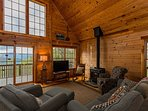 Living Room w/ TV and wood stove