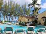 Pool deck with ocean backdrop