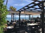 Sea side restaurant terrace.