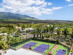 Tennis Court with West Maui Mountains in background