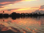 sunset from kayaks