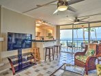 Open the large doors out to the deck and enjoy the sea breeze as you watch a movie on the flat-screen cable TV.