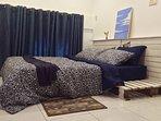 A comfortable queen bed