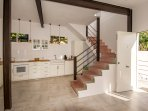 fully equipped kitchen with all gadgets. Staircase up to the rooftop floor.
