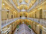 Mutual Heights Art Deco building has an inner atrium with the apartments around the edge