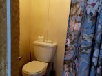 Toilet in shower area. In lanai.