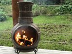 And a chimenea to keep you warm during evening stargazing.
