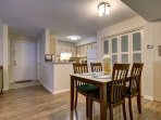 Dinning room to fully equipped kitchen; 2 foldable extra chairs in the walk in