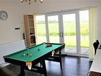 Games room with countryside views