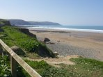 View of Widemouth Bay from cliff walk