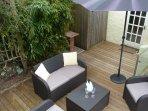 Private, sunny deck