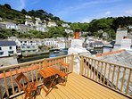 Roof top decking area with views into Polperro harbour