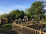 Pub garden, decking and play area perfect for families and pet owners wanting to enjoy the seaviews
