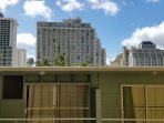 There is a skyline view from the lanai over the top of the newly renovated hotel next door.  For your convenience...