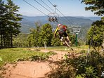 Enjoy Snowshoe's extensive trail system for downhill mountain biking!