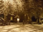A snowy convent.