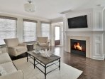 Beautiful Living Room with gas fireplace.