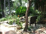 patio at koi pond and waterfall