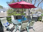 Deck off Kitchen with patio set, umbrella and gas grill - 61 Kelley Road West Harwich Cape Cod New England Vacation...