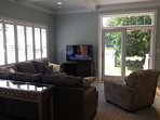 Family room opens out onto wrap-around deck