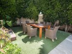 'al fresco' dining area 7' Teak dining table w/ 6 chairs