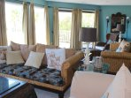 The extended living area offers multiple areas for relaxing.