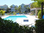 The lagoon provides a serene backdrop for this great neighborhood pool.