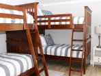 The bedroom is great for the kids. It has two twin bunk beds.