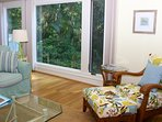 The windows offer private views of the island's landscape.