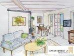 Appartement mit Balkon, 45 m2 Wohnküche mit Kamiofen, Zirbenholzschlafzimmer, Bad mit Dusche