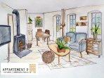 Maisonette Appartement, 85 m2 Wohnküche mit Kamiofen, Zirbenholzschlafzimmer, Bad mit Dusche