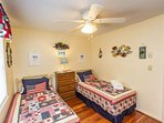 Second bedroom has twin beds, these can be converted to a king size bed.  Please let us know in advance if you want...