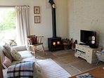 A woodburner belts out the heat on chilly evenings