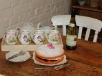 Welcoming home-made cake and wine on arrival