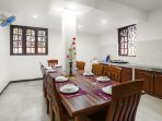 Dining area.Kitchen offers everything that a self-catered villa would need with clean worktops and fitted cupboards
