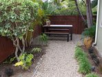 Enjoy dinner outdoors on the intimately lit private picnic table area.