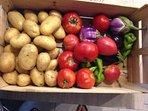 Fresh fruit & veg available to buy from François' (our gardener) garden