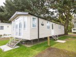 8 berth caravan for hire at Wild Duck Haven Holiday Park. Diamond-plus rated.