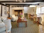 Low ceiling and beams giving a feeling of a bygone age