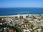 Aerial view of Siesta Key Village at Crescent Beach on Siesta Key