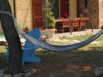 Hammock and outdoor dining area