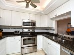 Well equipped kitchen with granite countertops, all stainless appliances...