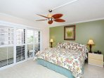 Master bedroom with king-size bed, open to lanai, HDTV, en suite bathroom, walk-in closet