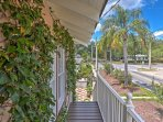 Access the unit using stairs that lead from the property's gorgeous patio and garden area.