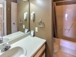 Get ready for bed with a shower or bath in the bathroom!