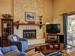 The fireplace creates a homey and cozy atmosphere.