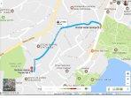 Map, from the Hotel Bristol to Villa Meri