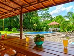 Enjoy sitting in the shade, playing badminton, swinging in a hammock or lounging around.