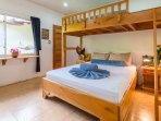 Separate cabin; queen bed with single bunk, satellite tv and kitchenette.